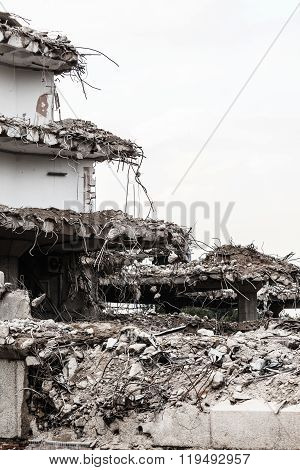 Ruins Of Building Under Destruction, Urban Scene.