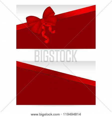Silver gift cards with red ribbons