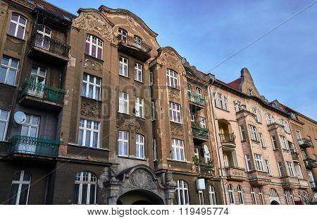 Street with Art Nouveau buildings