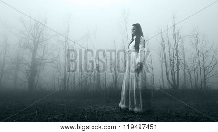 Mysterious female ghost in the forest