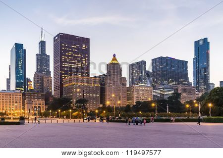 Chicago, Il/usa - Circa July 2015: View Of Chicago Downtown From Grant Park,  Illinois