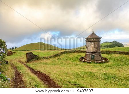Old windmill in Azores Islands, Portugal