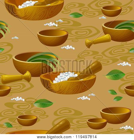 Seamless pattern with  spa accessories pounders  and salt.