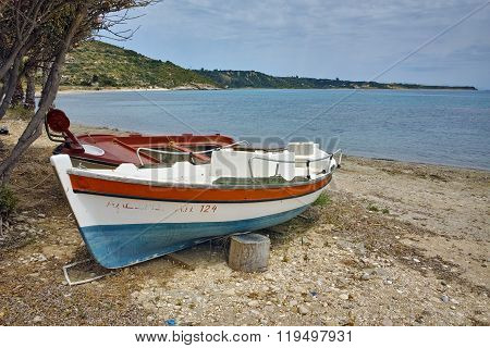 Old Boat at small port, Kefalonia, Ionian islands, Greece