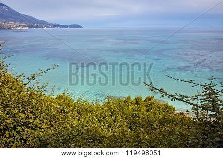Blue waters of Pesada beach, Kefalonia, Ionian islands, Greece