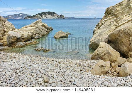 View of marathia beach at Zakynthos island, Greece