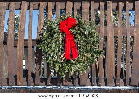 Christmas Wreath On Railing