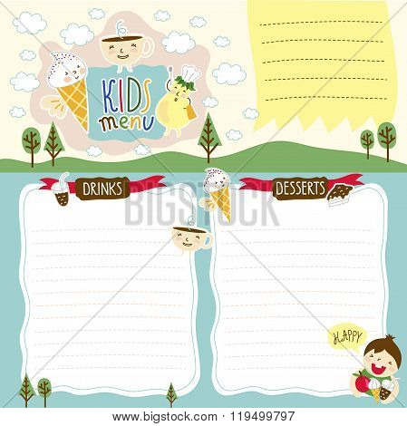 Kids menu. Kids menu template. Kids food. Kids meal. Kids restaurant. Colorful kids meal menu. Blank menu for kids. Blank kids cafe menu concept. Baby, yummy. Baby menu template. Childish cafe menu.