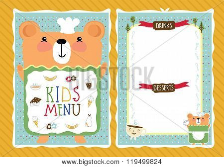 Kids Menu. Kids Restaurant. Colorful Kids Meal Menu. Kids Food