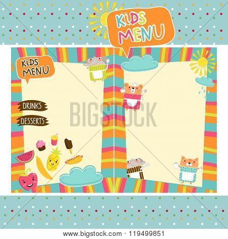 Kids menu. Kids restaurant. Colorful kids meal menu. Kids food. Blank menu for kids. Kids meal. Blank kids cafe menu concept. Baby, yummy. Baby menu template. Kids menu template. Childish cafe menu. Kids menu layout.