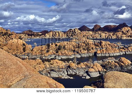 Lake Surrounded By Boulders