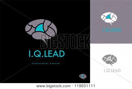 PREMIUM LOGO DESIGN OF A BRAIN WITH ONE HIGHLIGHTED PART SYMBOLIZING UNIQUENESS