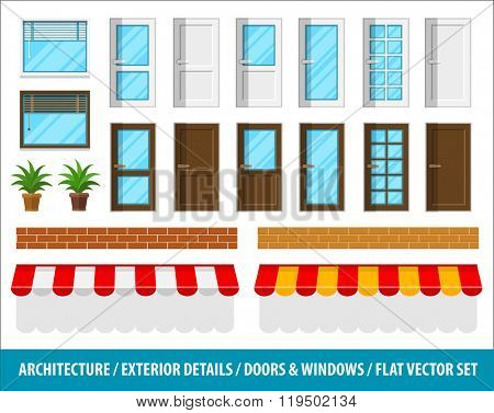 Architectural details for house exterior doors windows brick walls and sunblinds vector illustration. Isolated white background. Transparent objects used lights shadows drawing