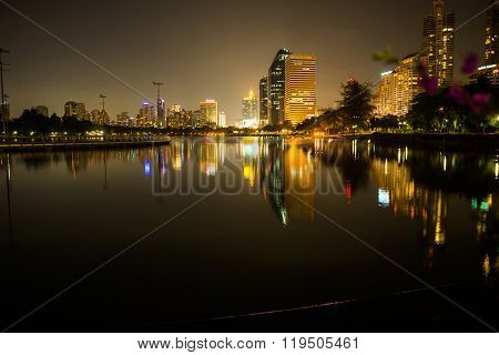 Lake At The Benchakitti Park In Bangkok.