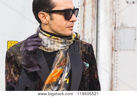 Fashionable man Outside Gucci Fashion Show Building For Milan Women's Fashion Week 2016