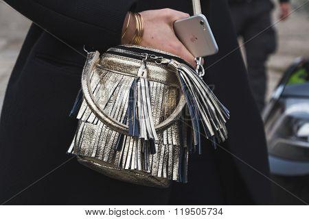 Detail Of Bag Outside Gucci Fashion Show Building For Milan Women's Fashion Week 2016