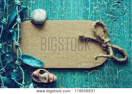 Abstract Turquoise Wooden Background With Shells