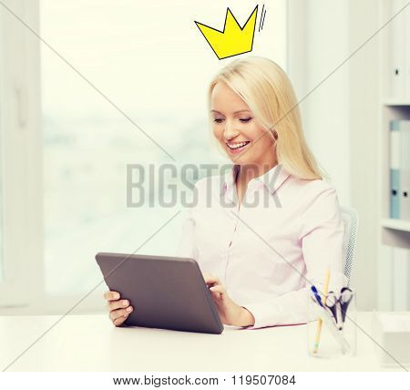 education, business, royalty and technology concept - smiling businesswoman or student with tablet pc computer with crown doodle in office