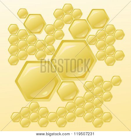 Vector Illustration With Honeycombs
