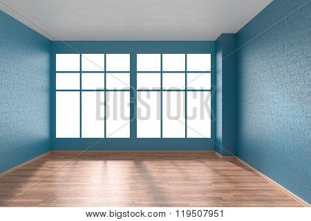 Empty Room With Parquet Floor, Blue Textured Walls And Big Window