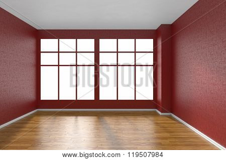 Empty Room With Parquet Floor, Textured Red Walls And Big Window