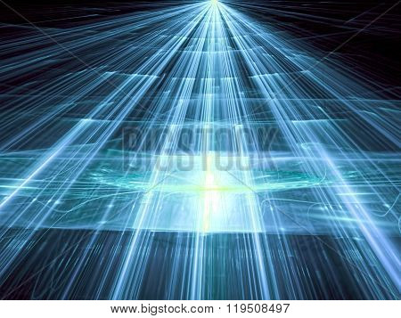 Abstract light blue background computer-generated image. Trendy fractal artwork - surface with straight lines highlights and the prospect. Tech style background for web-design banners and covers.