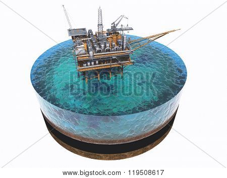 Oil production on the model of the sea.