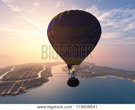 Balloon against the evening sky