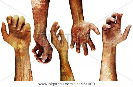very detailed grungy hands isolated on white