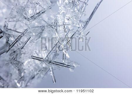 Closeup de cristales de hielo con muy poca profundidad DOF