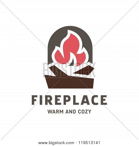 Logo fireplace vector into flat style trend