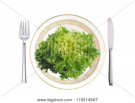 Cut Savoy Cabbage On Plate, Fork And Knife Isolated On White