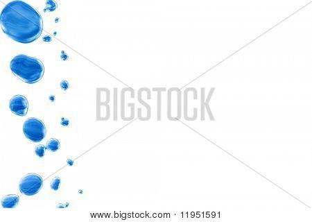 Gotas de água azul