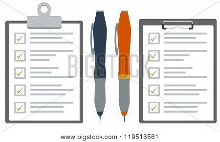 Clipboard with checklist and pen. Flat color vector graphic