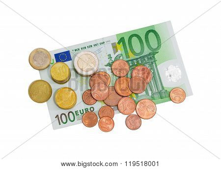 Euro Coins On The Background Of Banknote Of 100 Euro