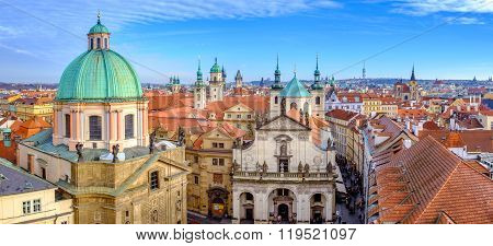 Panoramic Citiscape Of Prague Viewed From Charles Bridge