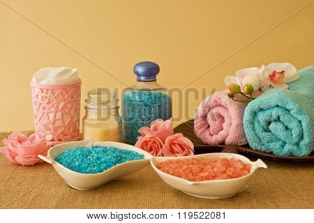 Spa Composition In Blue And Pink Colors