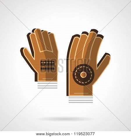 Goalkeepers gloves flat color vector icon