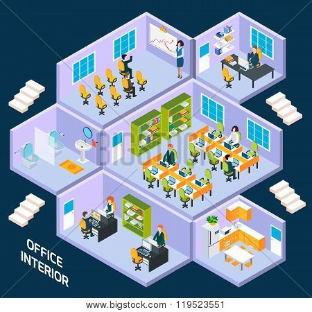 Office isometric interior