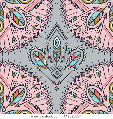 Vector seamless pattern with ethnic arrows feathers and tribal ornaments. Boho and hippie stylish ba