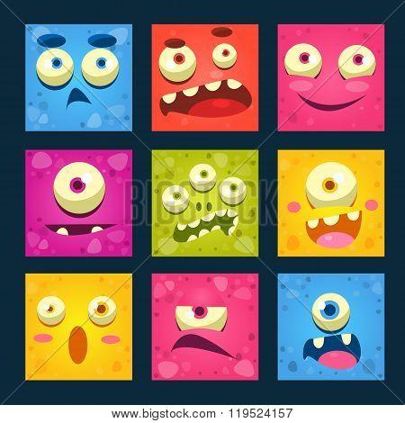 Cartoon Monster Faces Vector Set.