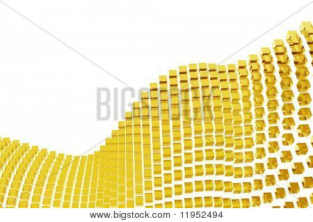 Abstract golden blocks isolated