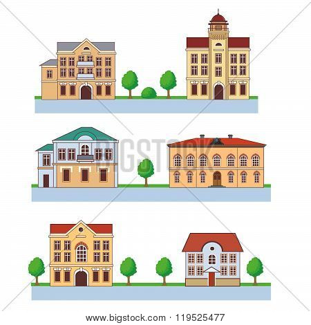 Town With Colorful Houses. Seamless Pattern. Vector Cartoon Illustration On A Green Background. Town And Country. Town Square. Town Homes For Rent. Town Homes For Sale. Town Hall. Big Town. Flat Town.