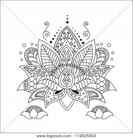 Beautiful Lotus. Ornament Vector Yoga. Hand Drawn Element. Picture For Design, Kaleidoscope, Medallion, Yoga, India, Arabic. Vector Lotus. Flower Lotus. Lotus Classic. Lotus Tattoo. Lotus Tarot.