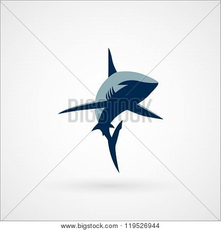 Shark Logo Sign Two Colors Vector Illustration On White Background