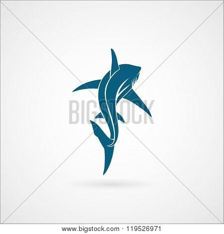 Shark Sailing Far Away Logo Sign On White Background Vector Illustration