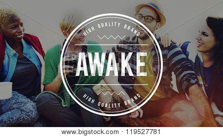 Awake Alert Energetic Sleeping Disorder Concept