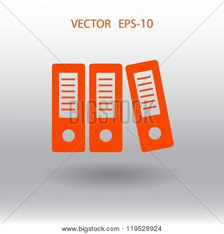 Flat  Row of binders icon, vector illustration