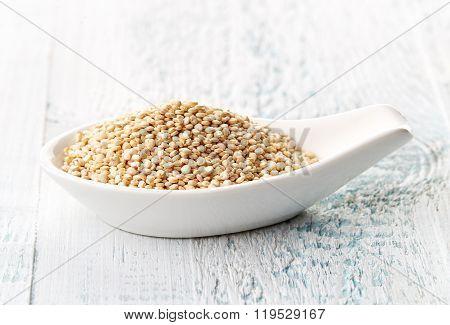 White Quinoa In White Porcelain Spoon