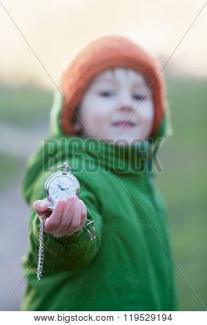 Cute Preschool Boy, Holding Pocket Watch